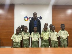 Pupils from Doyisem Best Academy, Makoko, Yaba, Lagos paid a 'thank you' visit to the management of Nosak Group for supporting their education through the back to school initiative of Riverwood Switch Foundation (a Non-Governmental Organisation).